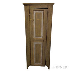Primitive Mustard-painted Pine Chimney Cupboard