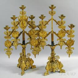 Pair of Gilt Ecclesiastical Adjustable Five-light Candelabra