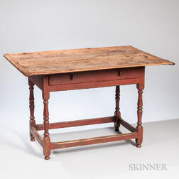 Red-painted Turned Pine and Maple Tavern Table