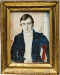 Anglo-American School, Early 19th Century      Portrait Miniature of a Young Man in a Blue Coat