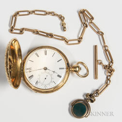 F.B. Adams & Sons 18kt Gold Hunter Case Watch and Chain