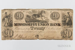 The Mississippi Union Bank in Jackson, Mississippi $20 Note