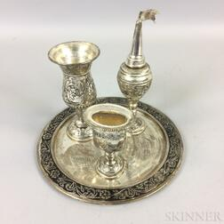 Four-piece Set of Silver-plated Religious Items