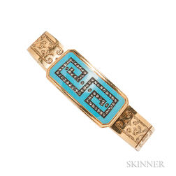 Antique 18kt Gold, Enamel, and Diamond Bracelet