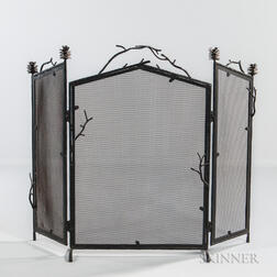 Palechek Trifold Arts and Crafts-style Firescreen
