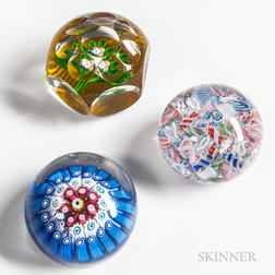 Three Paperweights Including Two Saint Louis