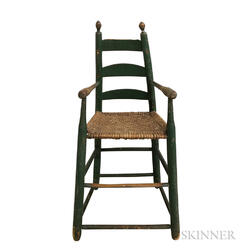 Child's Green-painted and Woven Splint-seat High Chair