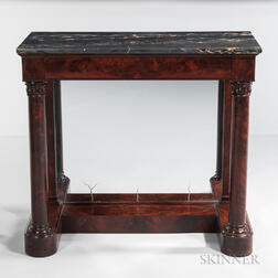 Classical Mahogany Carved Marble-top Pier Table