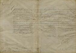 George III, King of England (1738-1820) Document Signed, St. James's Palace, 14 June 1783.