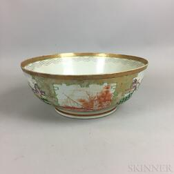 Large Chinese Export Famille Rose Porcelain Punch Bowl
