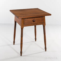 Large Walnut One-drawer Splay-leg Stand