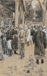 Sydney Adamson (Scottish, act. 1892-1914)      A Gathering of Officers and Civilians at the Time of the Boxer Rebellion