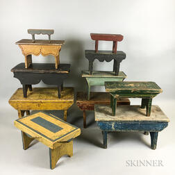 Eleven Painted Pine Cricket Stools