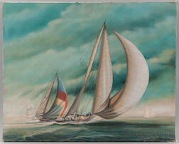 Richard Lane (American, 20th Century)      Sailboat Racing
