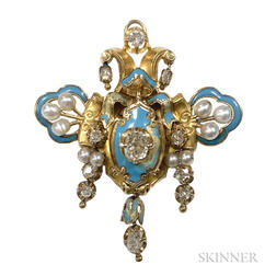 Antique Gold, Enamel, and Diamond Pendant/Brooch