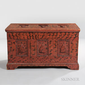Carved and Paint-decorated Diamond-point Blanket Chest