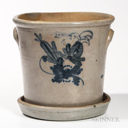 Four-gallon Cobalt-decorated Stoneware Flowerpot and Undertray