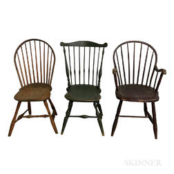 Three Turned Windsor Chairs