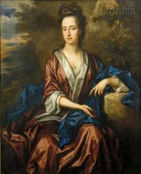 School of John Riley (British, 1646-1691)      Portrait of a Lady with a String of Pearls Seated in a Landscape