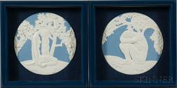 Pair of Wedgwood Solid Light Blue Jasper Adam and Eve Plaques