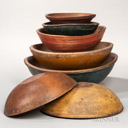 Seven Turned and Painted Wooden Bowls