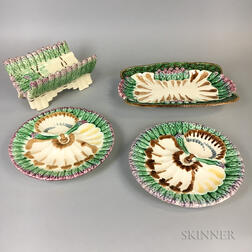 Four Longchamp Majolica Dishes