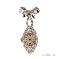 Art Deco White Gold and Diamond Lapel Watch