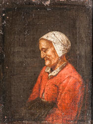 Dutch School, 17th Century Style    Profile of an Old Woman in Red with a White Cap