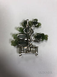 Art Deco Platinum, Hardstone, and Diamond Bonsai Tree Brooch, Ernst Paltscho