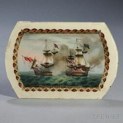 Reverse-painted Glass Banjo Timepiece Tablet Depicting a Historic Sea Battle