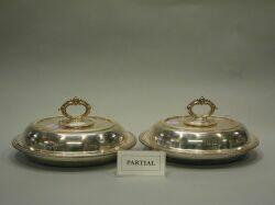 Pair of English Electroplated Covered Serving Dishes and a Hot Water Jug.
