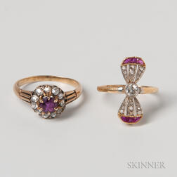 Two 18kt Gold, Ruby, and Diamond Rings