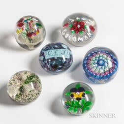 Six Paperweights Including Baccarat