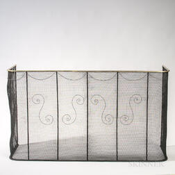 Tall Iron Mesh and Brass Fender with Wirework Scrolls