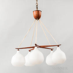 Tanier Five-globe Glass and Teak Ceiling Fixture