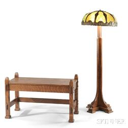 Arts & Crafts-style Floor Lamp and a Window Bench