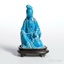 Turquoise Blue-glazed Figure of Guanyin