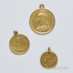 Three Gold Coin Charms/Love Tokens