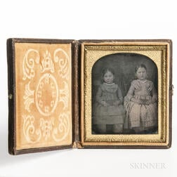 Sixth-plate Tinted Daguerreotype of Two Seated Little Girls