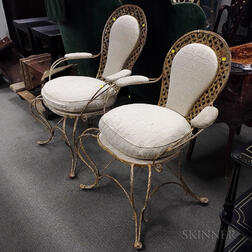 Pair of Hollywood Regency Upholstered and Painted Iron Armchairs