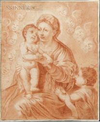 Spanish or Italian School, 17th Century      Madonna and Child Holding a Cherry Attended by Infant John the Baptist