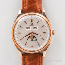 Unusual Omega Reference 2606 Triple Calendar with Moon Phase Wristwatch