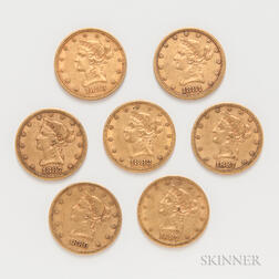 Seven $10 Indian Head Gold Coins