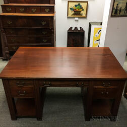 Large Mahogany Partner's Desk