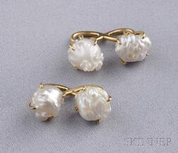 Antique 18kt Gold and Mississippi Pearl Cuff Links, Tiffany & Co.
