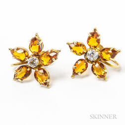 14kt Gold, Citrine, and Diamond Floral Earclips