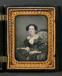 Quarter Plate Daguerreotype Portrait of an Elegantly Dressed Young Woman