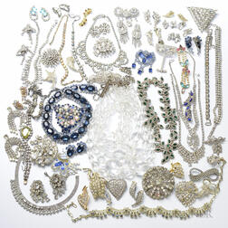 Large Group of Rhinestone Costume Jewelry