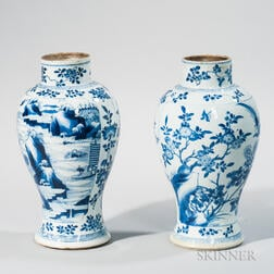 Two Blue and White Meiping   Vases