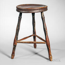 Rare Turned Birch Windsor Stool